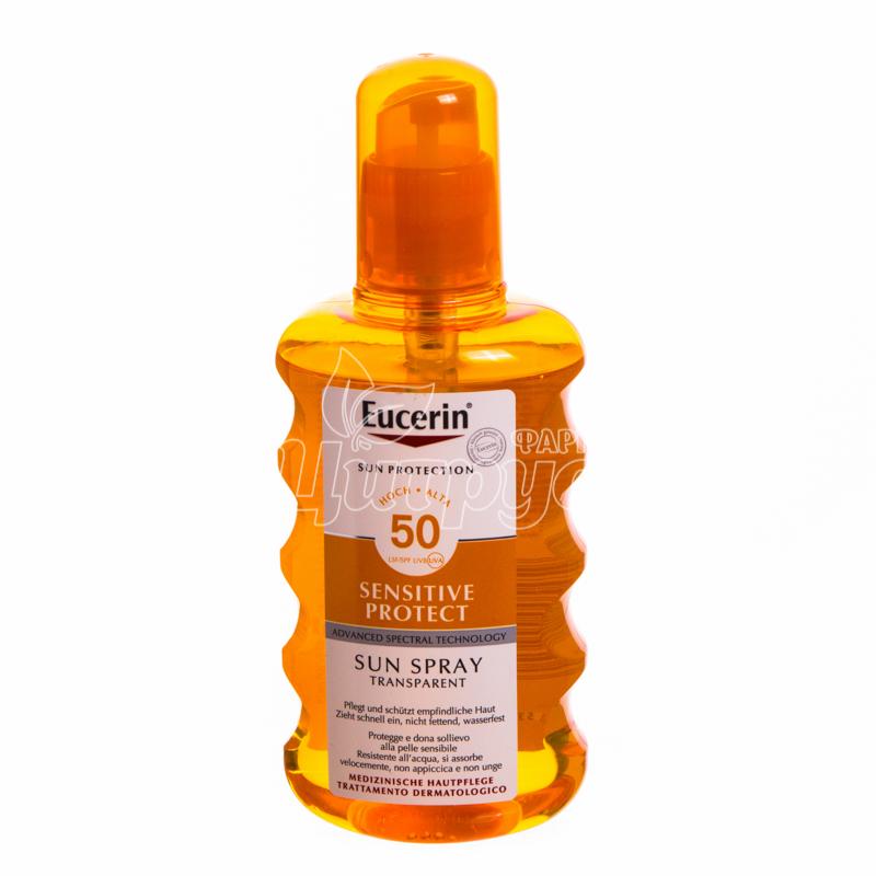 фото 1/Эуцерин Сенсетив Протект (Eucerin Sensetive Protect) Спрей солнцезащитный прозрачный SPF 50 200 мл