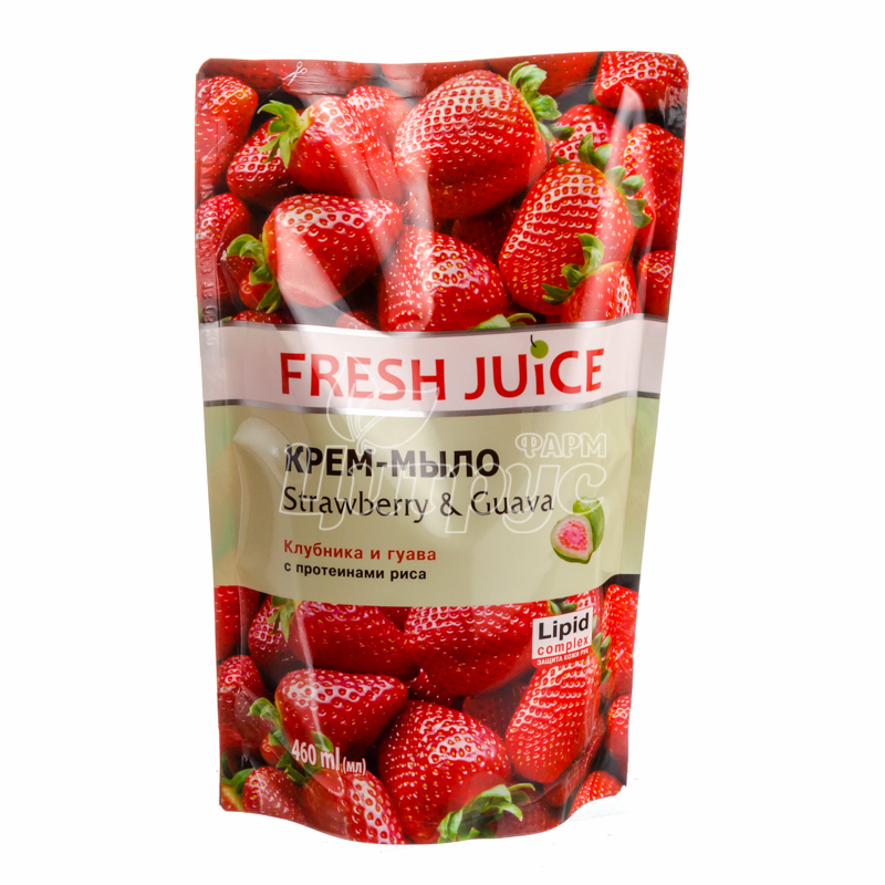 фото 1/Крем-мыло жидкое Фреш Джус (Fresh Juice) Клубника и гуава (Strawberry & Guava) 460 мл