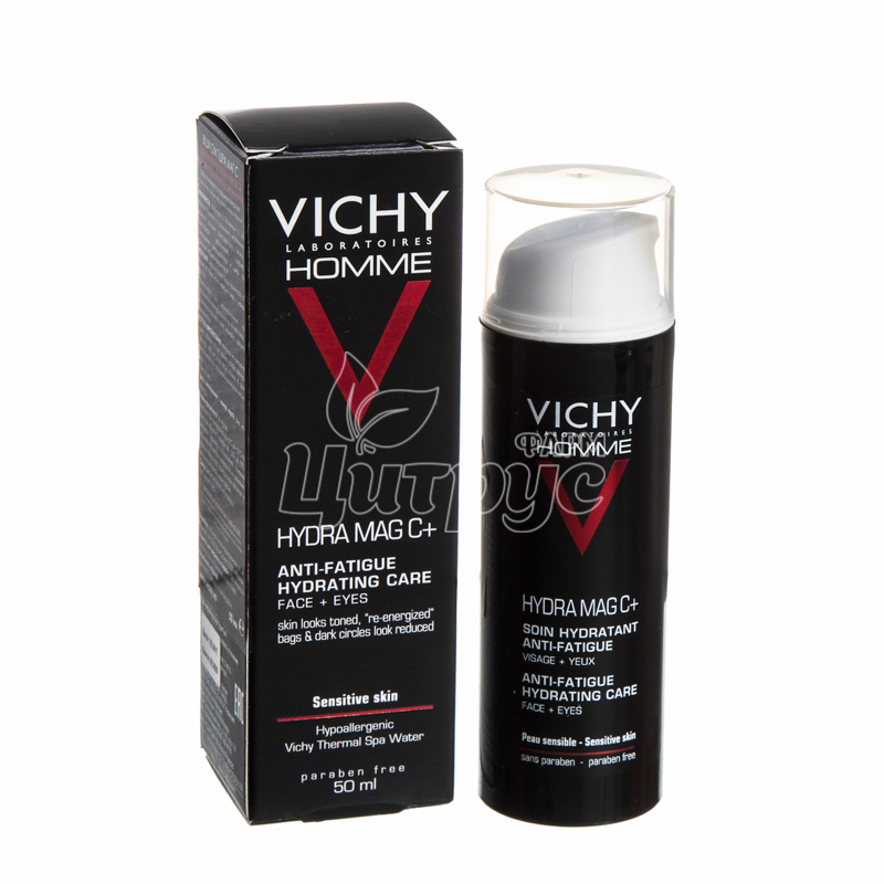 фото 1/Виши Ом Гидра Маг С+(Vichy Homme Hydra Mag C+) Cредство увлажняющее тонизирующее для кожи лица и контура глаз 50 мл