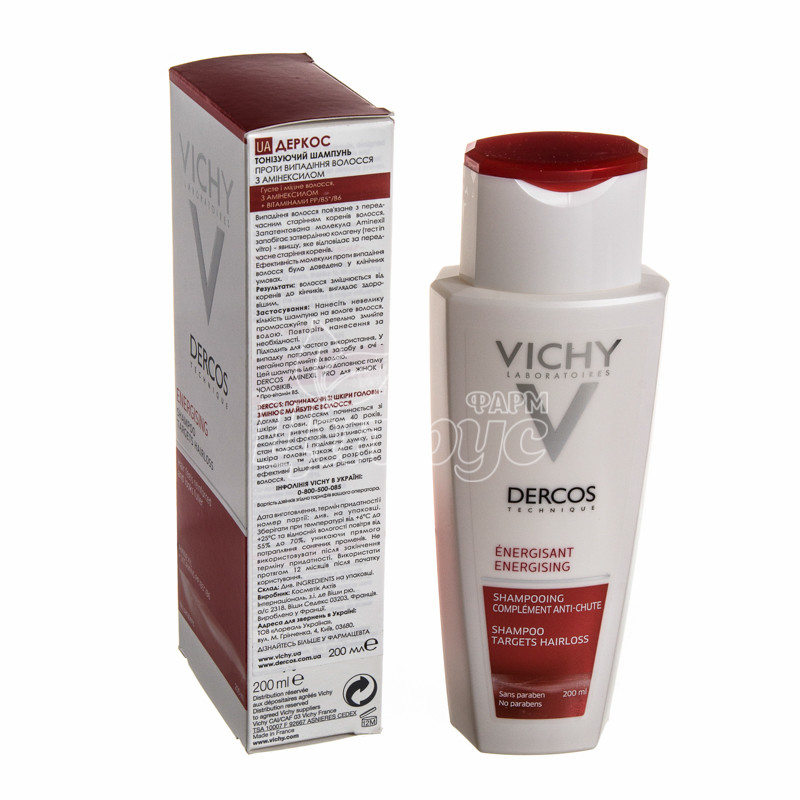 фото 1-2/Виши Деркос (Vichy Dercos) Шампунь тонизирующий с аминексилом против выпадения волос 200 мл