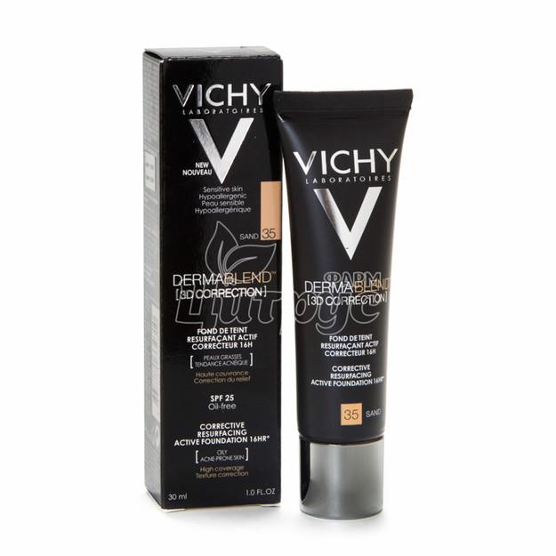 Виши Дермабленд 3 D Тон 35 (Vichy Dermablend 3 D) Крем матирующий тональный для кожи лица 30 мл