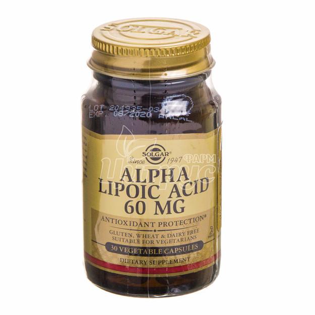 Солгар (Solgar) Альфа-Липоевая кислота 60 мг капсулы 30 штук
