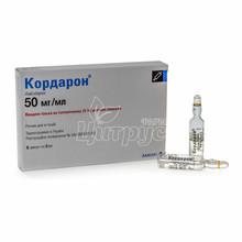 Кордарон раствор для инъекций ампулы 150 мг по 3 мл 6 штук