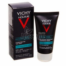 Виши Ом Гидра Кул+ (Vichy Homme Hydra Cool+) Гель увлажняющий для лица и контура глаз мужчин 50 мл