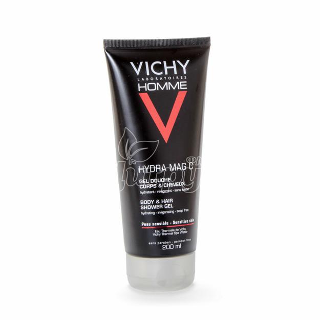 Виши Ом Гидра Маг С+(Vichy Homme Hydra Mag C+) Гель для душа тонизирующий увлажняющий для мужчин 200 мл